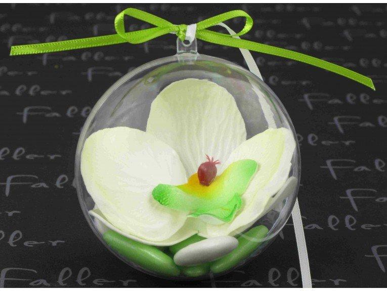 Orchidee anis dans boule plexi avec dragees
