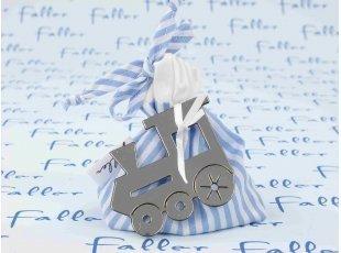 Sac dragées en tissu à rayures en bleu et blanc avec locomotive