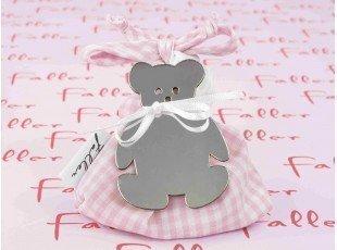 Sac dragées en tissu vichy rose avec ourson