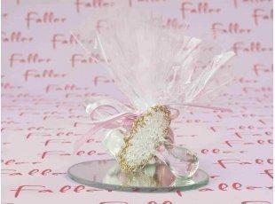 Tétine en verre et bords dorés pour baptême fille