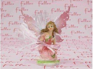 Elfe rose assise pour baptême avec dragées