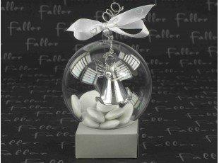 Boule à dragées communion avec ange argenté