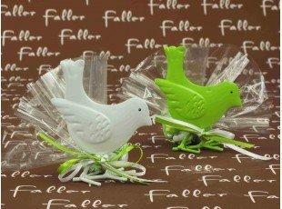 Oiseau métal anis ou blanc avec dragées