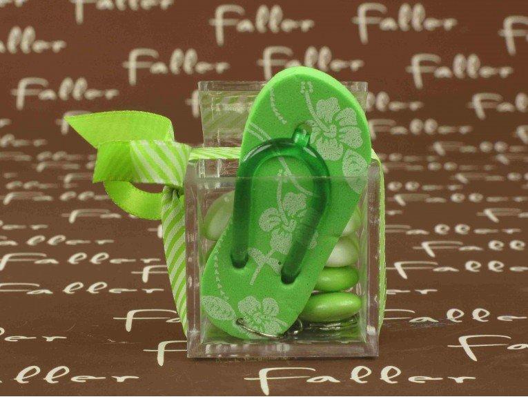 Boite carrée avec porte-clés tong fleurie anis