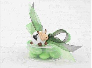 Petite vache souriante sur boite à dragées chocolat