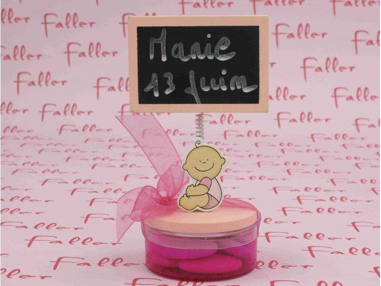 Porte photo ardoise bébé rose avec pochon dragées fille