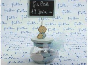 Support ardoise bébé bleu avec sachet de dragées baptême
