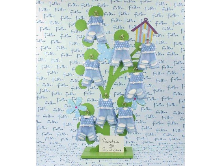 Salopette de baptisé en organza bleu à pois avec dragées