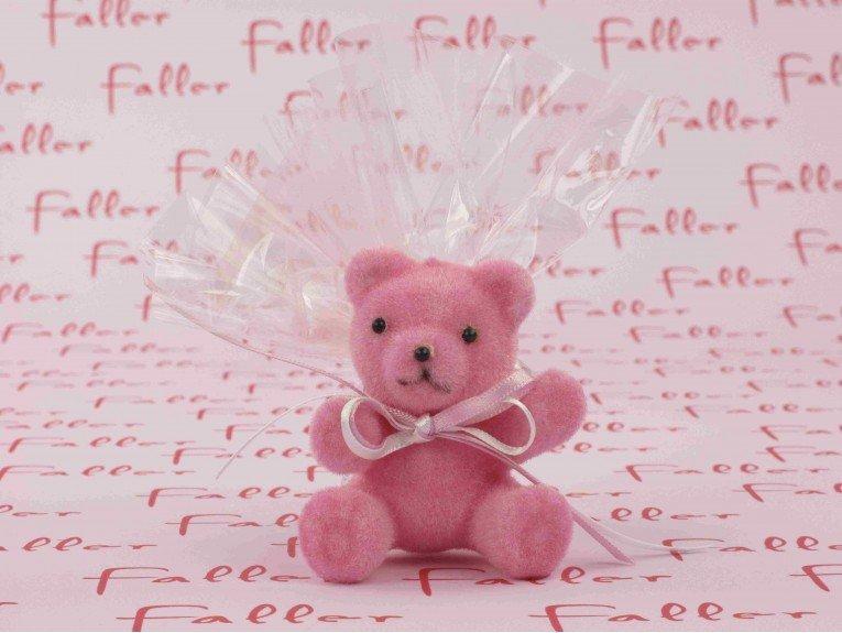 Sachet de dragées baptême avec ourson en velours rose