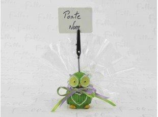 Porte carte hibou vert et son sachet de dragées baptême garçon