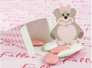 Boite à dragées ourson cône en carton vichy rose