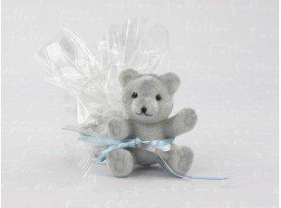 Tulle de dragées pour baptême garçon avec ourson en velour gris