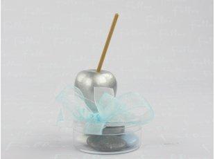 Pomme d'amour grise avec boite à dragées pour baptême
