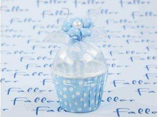 Composition de dragées baptême garçon dans pot bleu