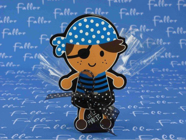 Dragées garçon dans sachet avec bloc note pirate