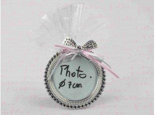 Cadre photo rond argenté avec pochon de dragées fille