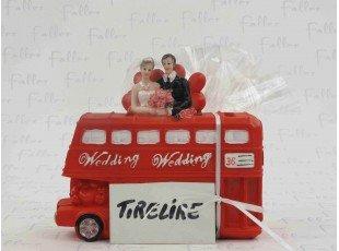 Tirelire bus wedding avec pochon de dragées mariage