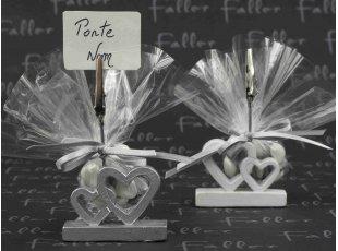 Pochon de dragées avec double coeur porte nom de mariage