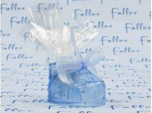 Chausson en plastique bleu avec pochon dragées