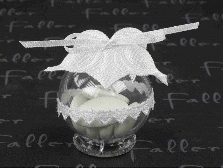 Dragées mariage déco colombe blanche dans boule