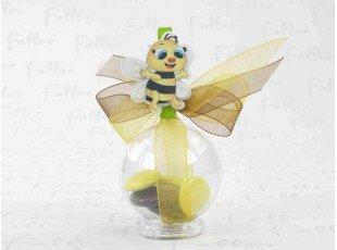 Dragées baptême, boule transparente avec figurine abeille sur pince