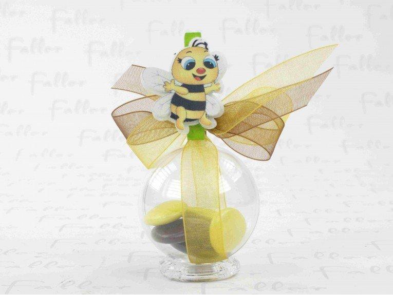 Figurine abeille sur pince avec dragées dans boule