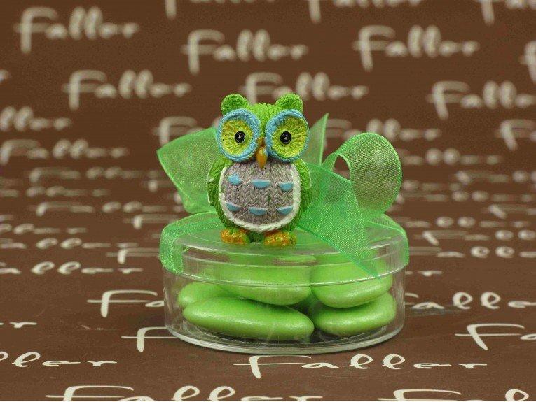 Figurine hibou sur boite de dragées baptême garçon