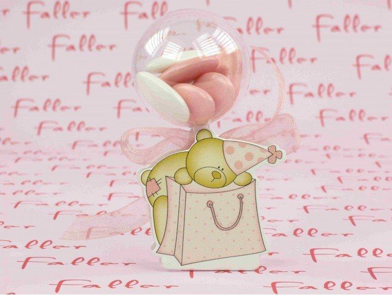 Boule en plexi avec déco ourson rose pour fille
