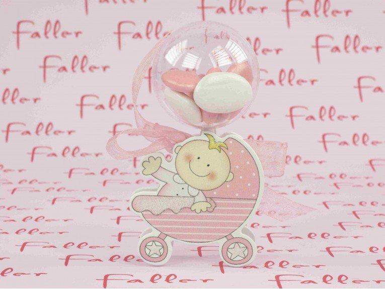 Boule en plexi avec bébé berceau rose pour fille