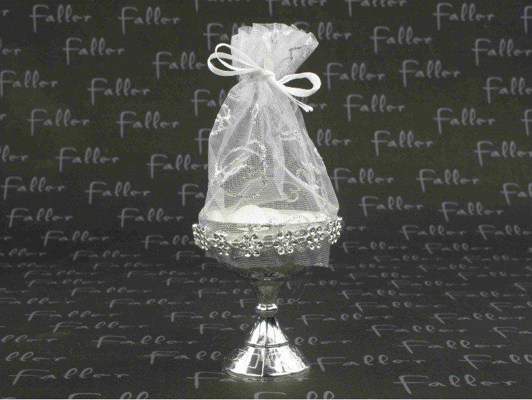 Calice argenté en plastique avec dragées mariage