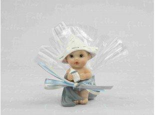 Dragées naissance avec petit garçon et son chapeau