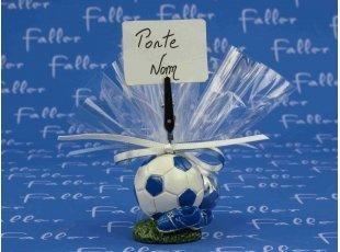 Porte photo ballon de football bleu avec pochon dragées