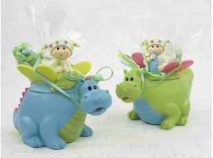 Dinosaure anis et bleu avec bébé et dragées