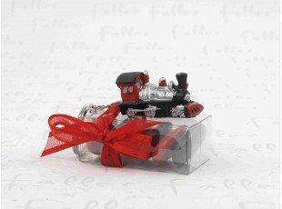 Train porte-clés sur boite à dragées mariage