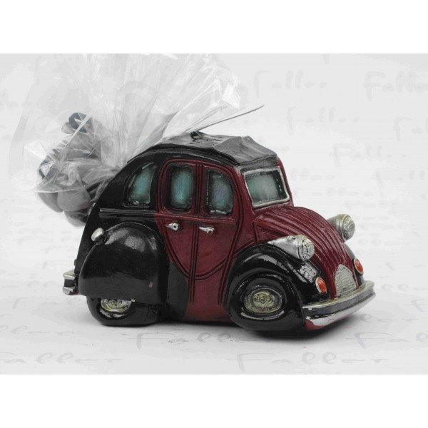 tirelire voiture 2cv bordeaux avec pochon de dragees. Black Bedroom Furniture Sets. Home Design Ideas