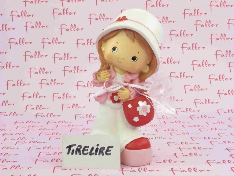 Tirelire fillette rose fuchsia et ses dragées chocolat