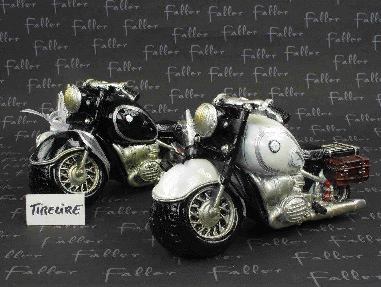 Tirelire moto noire ou blanche avec dragées mariage