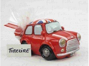 Tirelire mini rouge anglaise avec pochon de dragées