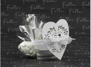 Photophore en verre avec porte bougie coeur blanc et dragees