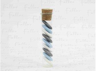 Tube en verre et dragées grises bleues blanches