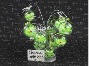 Boule mariage en plexi avec petite orchidée vert anis