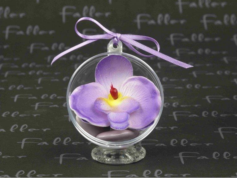 Boule mariage en plexi avec petite orchidée lilas