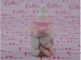 Biberon rose avec dragées naissance fille