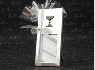 Cadre photo vertical argenté déco calice de communion