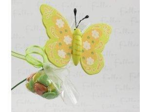 Papillons sur tige avec pochon de dragées baptême