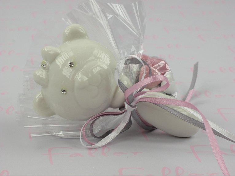 Hochet porcelaine blanc avec dragées de naissance pour fille