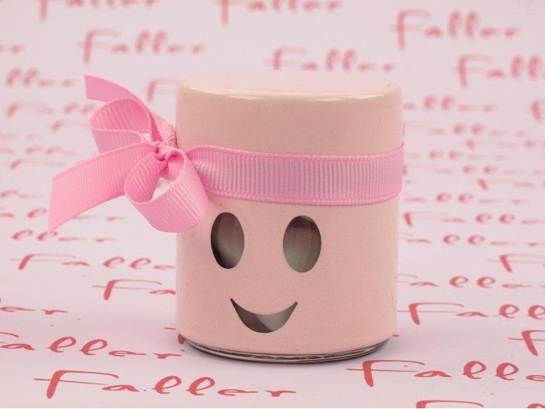 Dragées fille dans bocal smiley rose