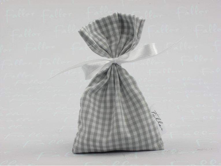 Pochon en tissu vichy gris (baptême garçon)