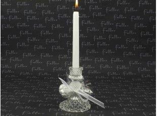 Bougeoir en verre rond avec ses dragées pour la communion