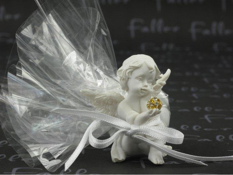 Ange de baptême avec strass et ses dragées